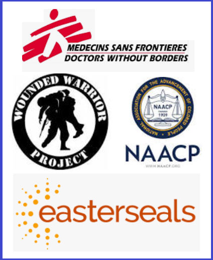 Easter Seasl Wounded Warrior NAACP Doctors without Borders logo